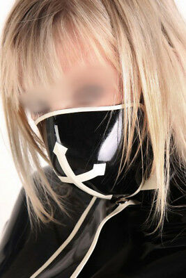822 Latex Rubber Gummi Cross Mouth covering Mask customized catsuit cool 0.4mm