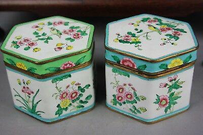 20th C. Chinese Two Famille-rose Enamel Covered Boxes
