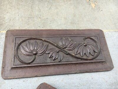 circa 1880 Victorian gingerbread style mahogany carved panel floral design 14x6""