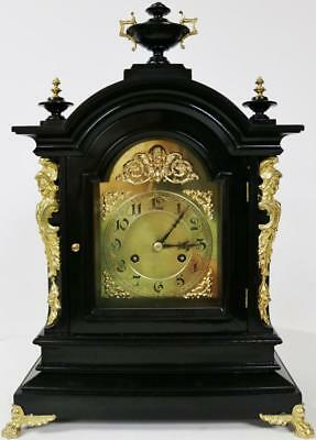 Antique German Junghans Ebonised & Ormolu Musical Ting Tang 2 Gong Bracket Clock