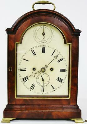 Rare Antique 18thc English Mahogany Twin Fusee Verge Repeating Bracket Clock