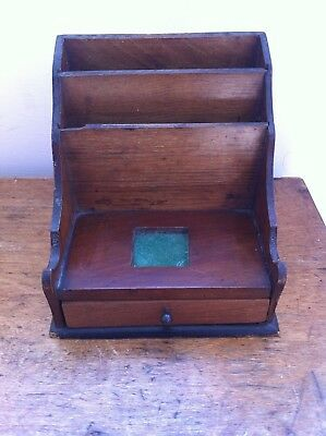 DECORATIVE SMALL ANTIQUE WOODEN DESK / LETTER STAND 6 inches a/f