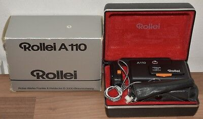 Rollei A110 Film Pocket Camera, Case, flashcube adapter & chain