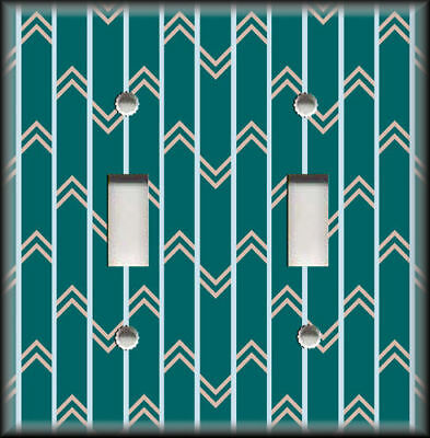Metal Light Switch Plate Cover Mid Century Modern Decor Teal Vintage Design