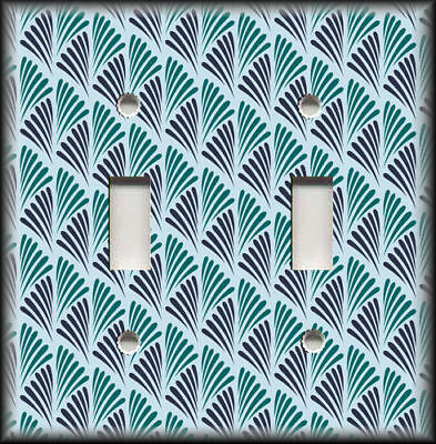 Metal Light Switch Plate Cover Mid Century Modern Decor Teal Navy Blue Design