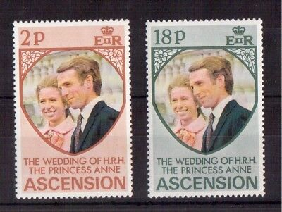 Ascension 1973 Set Mint Nh # 177/78, Princess Anne's Wedding Issue !!