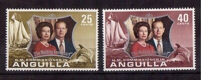 Anguilla 1972 Set Mint Nh # 161/62 Silver Wedding Issue !!