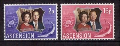 Ascension 1972 Set Mint Nh # 164/65 Silver Wedding Issue !!