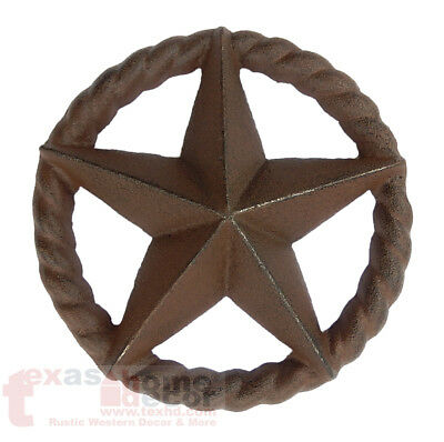 Cast Iron Rustic Texas Star Rope Ring Western Arts Crafts Antique Style 6 1/2 in