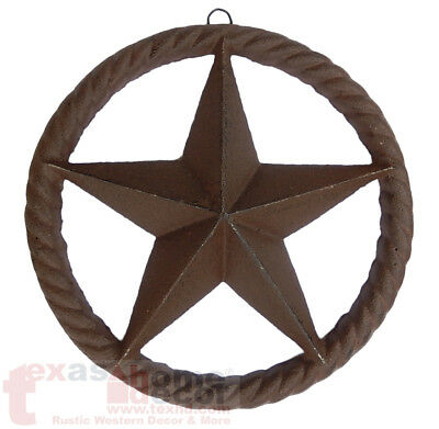 Cast Iron Rustic Texas Star Rope Ring Western Arts Crafts Antique Style 8 in