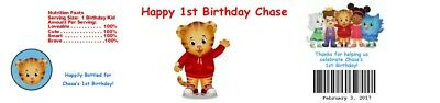 25 Daniel the Tiger Birthday Water Bottle Wrapper Favors Labels custom