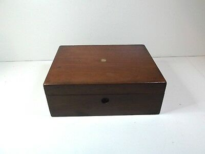 Vintage victorian mahogany box with key NEEDS RESTORATION