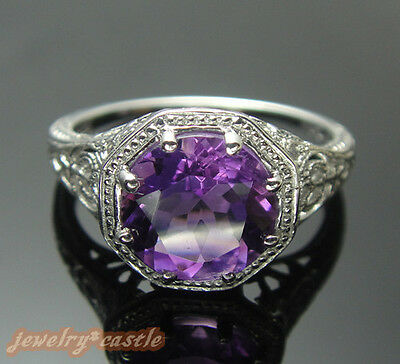 Solid 14K White Gold Art Deco Amethyst Vintage Filigree Estate Cocktail Ring