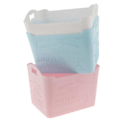 3Pcs Table Storage Boxes Organizer Trash Can Container Pink +blue+ White