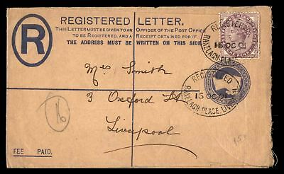 Ranelagh Place Liverpool Oct 15 1901 Uprated Issue On Registered Cover To Liverp