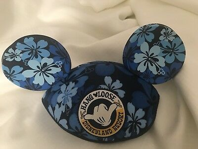 Disney Minnie Mouse Ears Mickey Hawaii Hang Loose Disneyland Resort Rare Blue