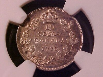 Canada 10 Cents Silver 1935 Au-58 Ngc George V Low Mintage Scarce