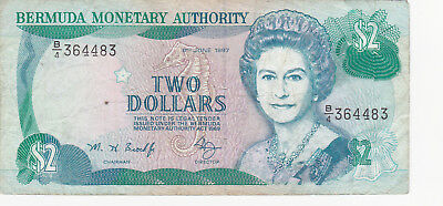 2 Dollars Very Fine Banknote From Bermuda 1997!pick-40