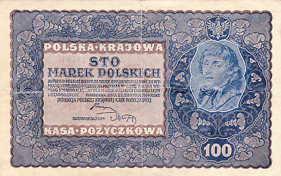 100 Marek  Very Fine Banknote From Poland 1919!!pick-27