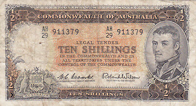 10 SHILLINGS VG-FINE BANKNOTE FROM AUSTRALIA 1961!PICK-33a