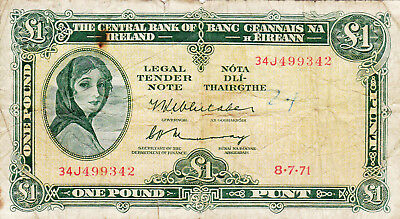 1 POUND VG BANKNOTE FROM IRELAND 1971!PICK-64c