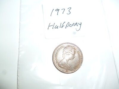 half penny coin dated 1973 - coin collector