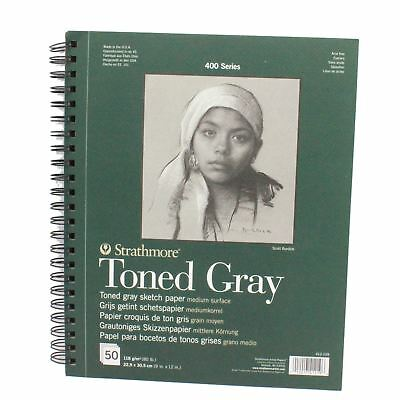 Gray tone sketch paper pad spiral bound 118gsm Strathmore 400 series 50 sheets