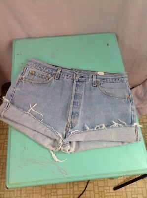 "vintage levis cut-offs denim jean shorts button fly 501 cut off 70's 80's 35"" W"