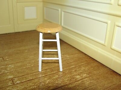 Dollhouse Miniature White Stool w Oak Top