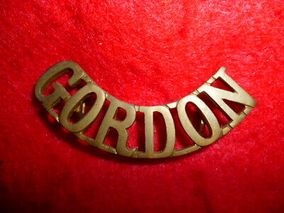 The Gordon Highlanders Regiment Brass Shoulder Title, Boer War / WW1