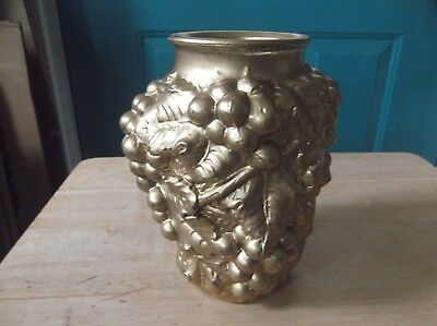 Vintage Gold Painted Goofus Glass 7-Inch Vase with Grape and Leaf Design