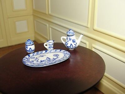 Dollhouse Miniature Hand-Painted Blue & White Tea Set    MIP