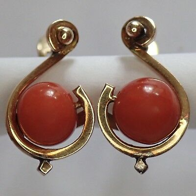 Vintage Antique Estate 18K Gold Sardinian Red Coral Earrings