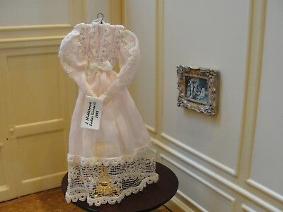 Dollhouse Miniature Ladies Pink Linen Dress  J.Middlebrook    Artist Piece