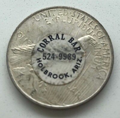 1922 PEACE SILVER DOLLAR w/ CORRAL BAR Advertising  STICKER HOLBROOK ARIZONA AZ