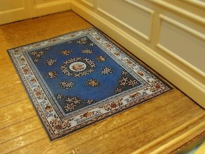 Dollhouse Miniature Blue Floral Rug by Handcraft Designs    MIP