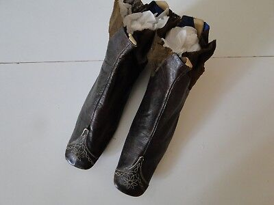 Antique Clothing- Circa1860,civil War Era  Ladies  Leather Boots W/embroidery