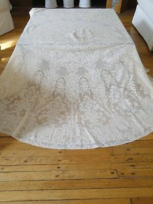 "Antique Lace-Circa 1920, Impressive 90"" French Alencon Lace Round Tablecloth"