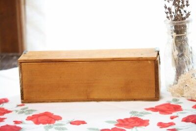 """Antique Wood Box Hand Made Pencil Box Size Flip Top Lid Metal Hinges 10"""" Length"""