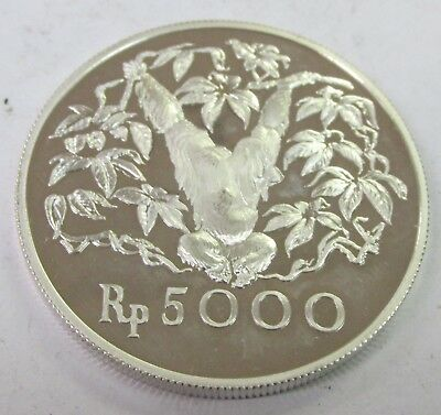 Indonesia 1974 Orangutan 5000 Rupiah Sterling Silver Proof Coin Low Mintage Q3B6