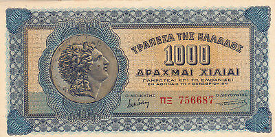 1000 Drachmai Extra Fine Crispy Banknote German Occupied Greece 1941!pick-117