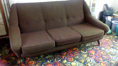vintage scandinavion retro sofa 50's 60's arm chairs and 3 seater sofa good used