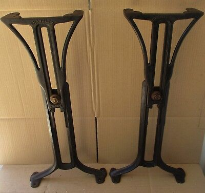 """CHANDLER BOSTON INDUSTRIAL ANTIQUE CAST IRON ADJUSTABLE TABLE LEGS 25 1/2"""" high"""