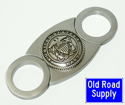 Old Road US Navy Silver Logo Stainless Cigar Cutter Carry Pouch