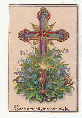 Keep Easter in Thy Heart with Holy Joy Colorful Cross Religious Vict Card c1880s