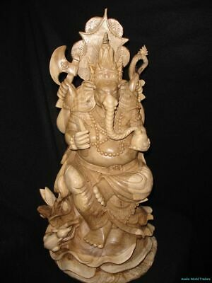 Ganesha Wood carving Sculpture Remover Obstacles Hindu Elephant God Balinese art