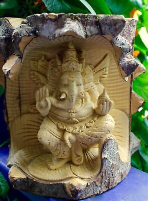 Ganesha Statue Remover of Obstacles Carved wood sculpture Balinese Hindu Art