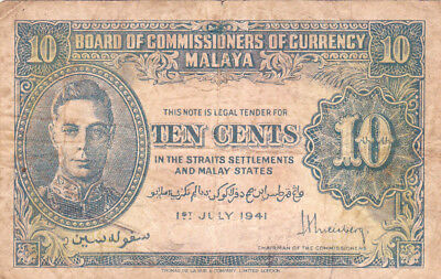 10 Cents Fine Banknote From British Malaya 1941!pick-8