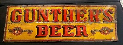 Gunther Beer Baltimore Brewery large original vintage tin sign 36 inches wide