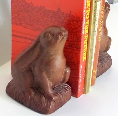 Vintage RABBIT BOOKENDS Andrea by Sadek BROWN RESIN